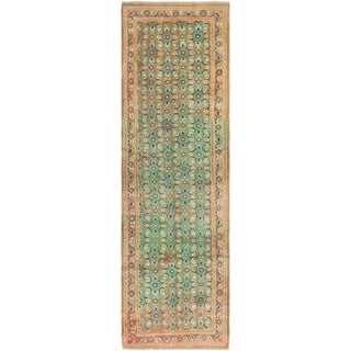 Hand Knotted Farahan Semi Antique Wool Runner Rug - 3' 3 x 11' 6