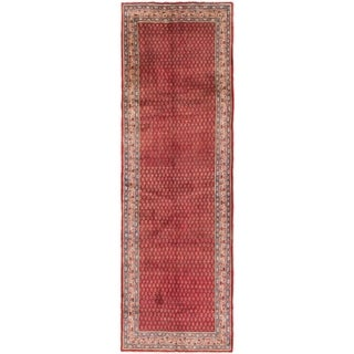 Hand Knotted Farahan Semi Antique Wool Runner Rug - 3' 5 x 10' 5