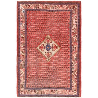 Hand Knotted Farahan Semi Antique Wool Area Rug - 4' 4 x 6' 6