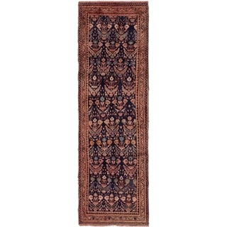 Hand Knotted Farahan Semi Antique Wool Runner Rug - 3' 8 x 9' 8