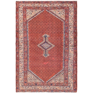 Hand Knotted Farahan Semi Antique Wool Area Rug - 4' 4 x 6' 8
