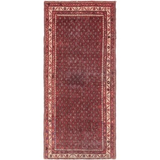 Hand Knotted Farahan Semi Antique Wool Runner Rug - 3' 7 x 7' 7