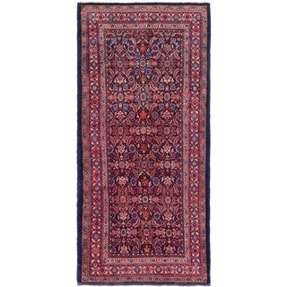 Hand Knotted Farahan Wool Runner Rug - 5' x 10' 9