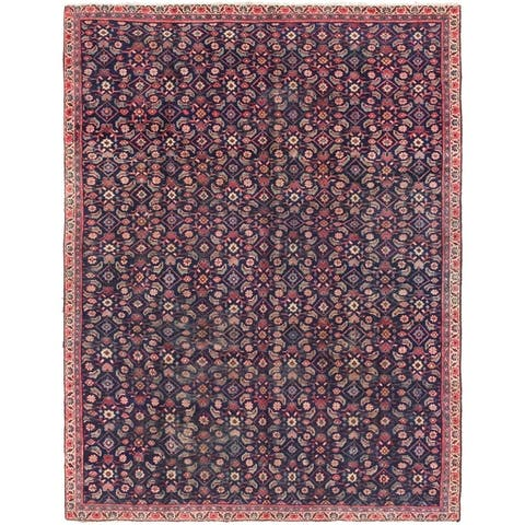 Hand Knotted Farahan Semi Antique Wool Area Rug - 7' 3 x 9' 5