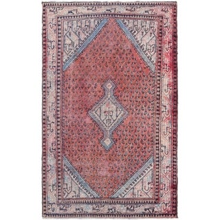 Hand Knotted Farahan Antique Wool Area Rug - 4' x 7'