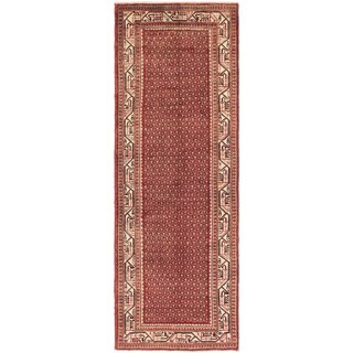 Hand Knotted Farahan Wool Runner Rug - 3' 6 x 10'