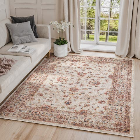 Babylon Traditional Beige/ Red Indoor Abstract Rug