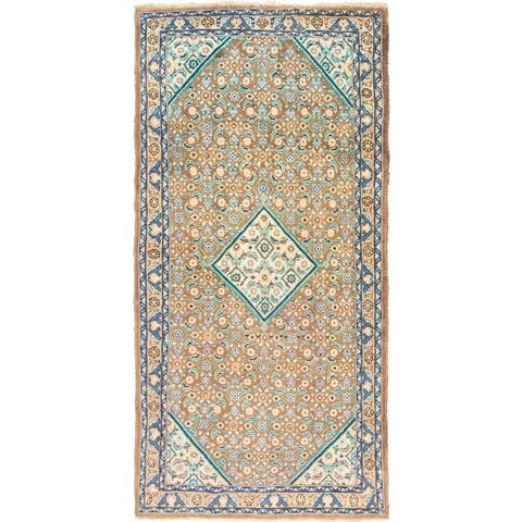 Hand Knotted Farahan Semi Antique Wool Runner Rug - 5' x 9' 9