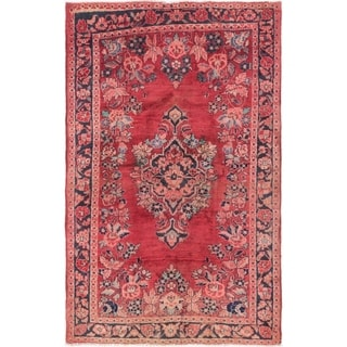 Hand Knotted Farahan Semi Antique Wool Area Rug - 4' 2 x 6' 6