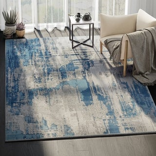 Modern Vista Blue/ Grey Indoor Rectangle Rug - 4' x 6'