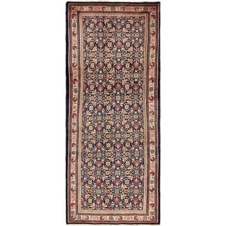 Hand Knotted Farahan Semi Antique Wool Runner Rug - 4' 3 x 10' 6