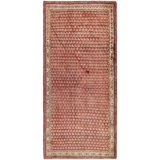 Hand Knotted Farahan Semi Antique Wool Runner Rug - 4' 2 x 9' 7