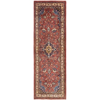 Hand Knotted Farahan Semi Antique Wool Runner Rug - 3' 7 x 11' 6