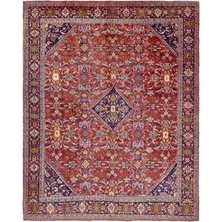 Hand Knotted Farahan Antique Wool Area Rug - 10' x 13'
