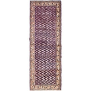 Hand Knotted Farahan Semi Antique Wool Runner Rug - 3' 5 x 9' 10