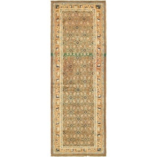 Hand Knotted Farahan Antique Wool Runner Rug - 3' 8 x 10' 3