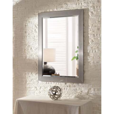 Asher 41-inch Brushed Steel Wall Mirror