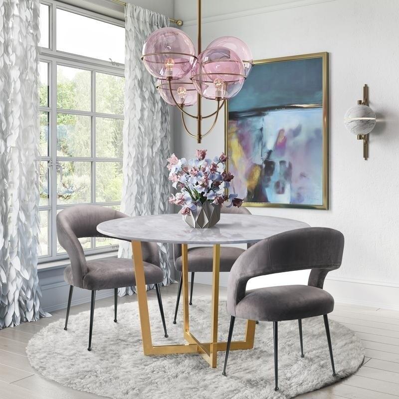 the best attitude be524 a47ad Carson Carrington Panevezys Grey Velvet Dining Chair