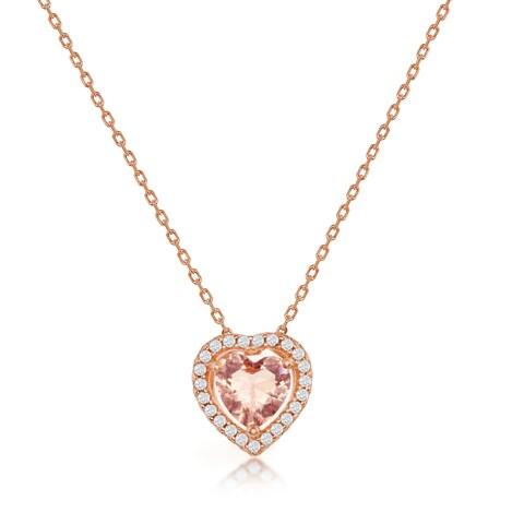 La Preciosa Sterling Silver Rose Gold Plated Oval, Heart, Or Pear Shaped Morganite CZ w/ White CZ Border 16+2'' Pendant Necklace