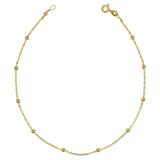 14k Yellow Gold Italian 2.5 millimeters Bead Station Anklet (10 inches)