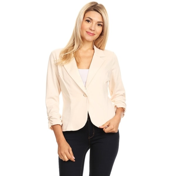 Women's Solid Basic Ruched Buttoned Blazer Jacket. Opens flyout.