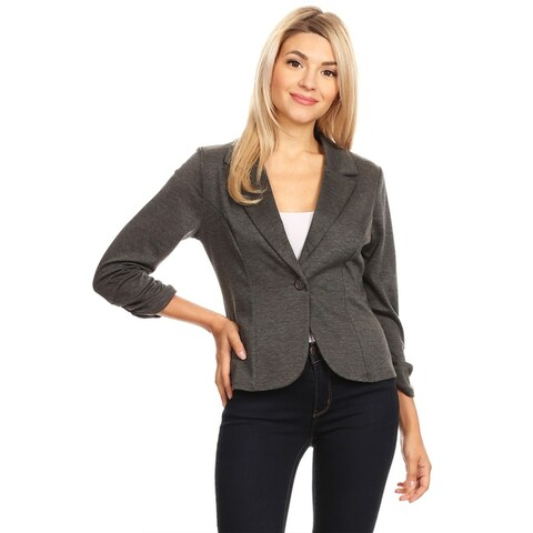 Women's Solid Basic Ruched Buttoned Blazer Jacket