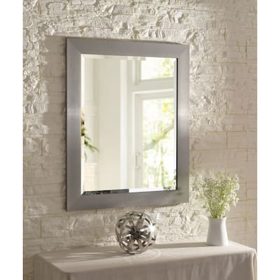 Asher 33-inch Brushed Steel Wall Mirror