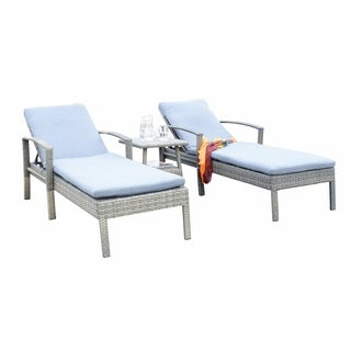 Newport Beige Outdoor Wicker Chaise Lounge 3-piece Set with Cushions
