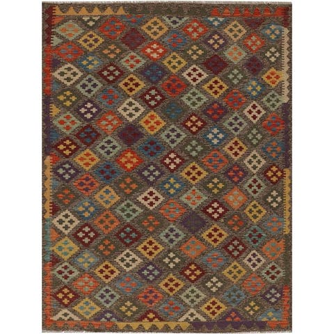 Handmade One-of-a-Kind Vegetable Dye Kilim Wool Rug (Afghanistan) - 4'10 x 6'6