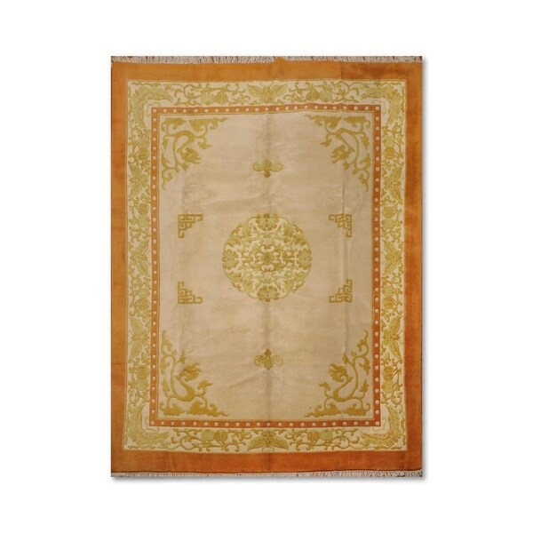 Hand Knotted Persian Style Wool Pile Area Rug: Shop Thick Pile Aubusson Hand-Knotted 100% Wool Oriental