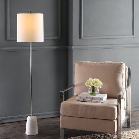 """Lincoln 62.5"""" Marble/Metal LED Floor Lamp, White/Chrome by JONATHAN Y - 62.5"""" H x 13"""" W x 13"""" D"""