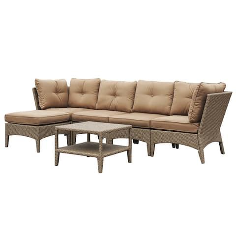 Huntington 6 Piece Sectional Deep Seating Set with Cushion