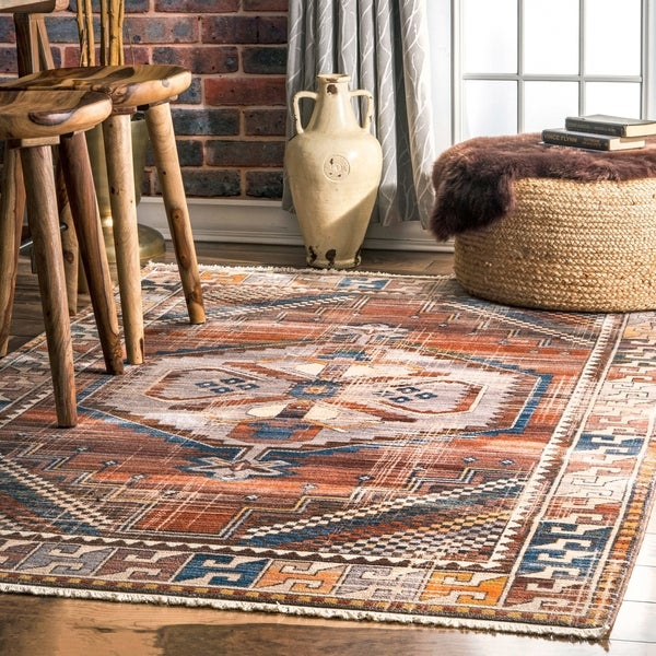 nuLOOM Rust Bohemian Tribal Cleo Geometric Medallion Persian Fringe Border Area Rug
