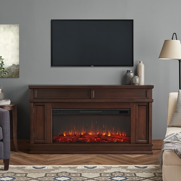 Shop Torrey Electric Fireplace In Dark Walnut Free