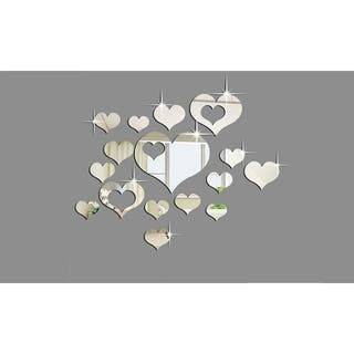 Silver Mirror Heart Wall Decals