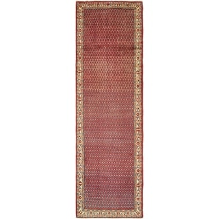 Hand Knotted Farahan Semi Antique Wool Runner Rug - 3' 8 x 12' 5