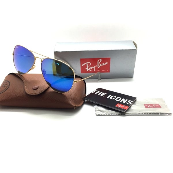 8d7f6fd228d Shop Ray-Ban Aviator Sunglasses RB3025 112 17 Gold Frame Blue Mirror 58mm -  Free Shipping Today - Overstock - 23138106