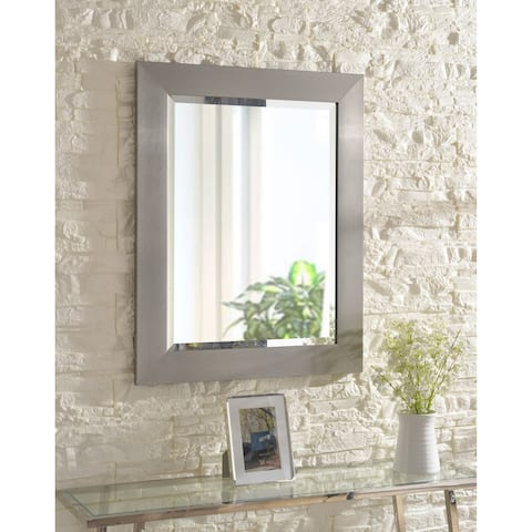 Asher 29-inch Brushed Steel Wall Mirror