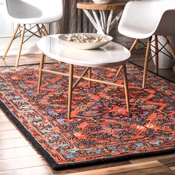 d2409acb9d4 nuLOOM Rust Hand Tufted Natural Fiber Boho Chic Floral Delilah Damask  Border Area Rug