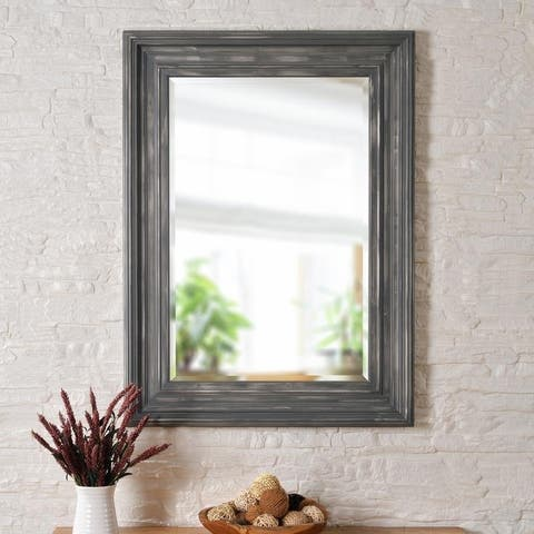 "Everett 38-inch Distressed Grey and Silver Wall Mirror - 28"" x 38"""