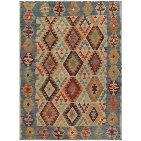 Handmade One-of-a-Kind Vegetable Dye Kilim Wool Rug (Afghanistan) - 5' x 6'6