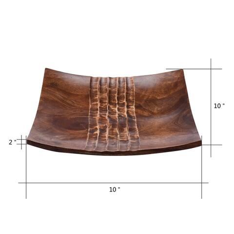 Villacera Handmade 10-inch Mango Wood Square Decorative Serving Tray