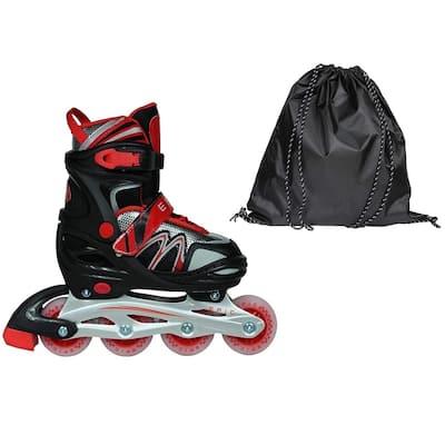 Epic Drift Black & Red Adj. Inline Roller Skates w/ All LED Light Up Wheels + Bonus Drawstring Bag!