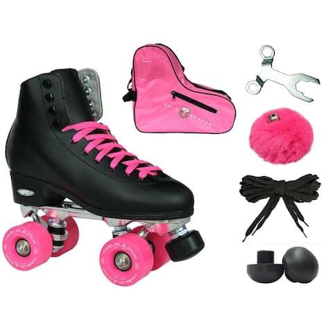 Epic New Classic Black & Pink High-Top Quad Roller Skate Bundle w/ Bag, Laces, & Pom Poms!