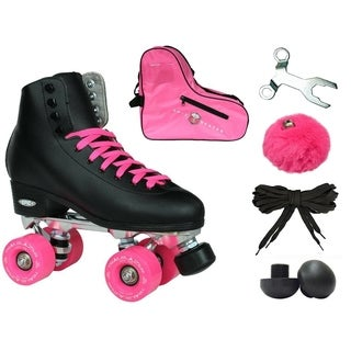 Epic New Classic Black & Pink High-Top Quad Roller Skate Bundle w/ Bag, Laces, & Pom Poms!