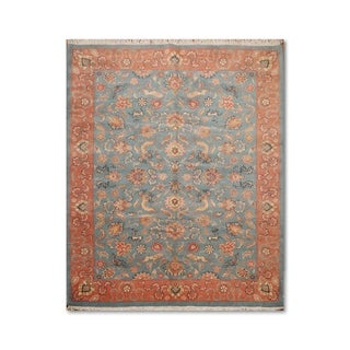 "Pictorial Romanian Hand-Knotted Persian Oriental Area Rug (7'10""x10'4"") - Blue/peach - 7'10""x10'4"""