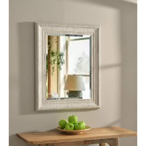 Hunter 31-inch Distressed White Wood Wall Mirror