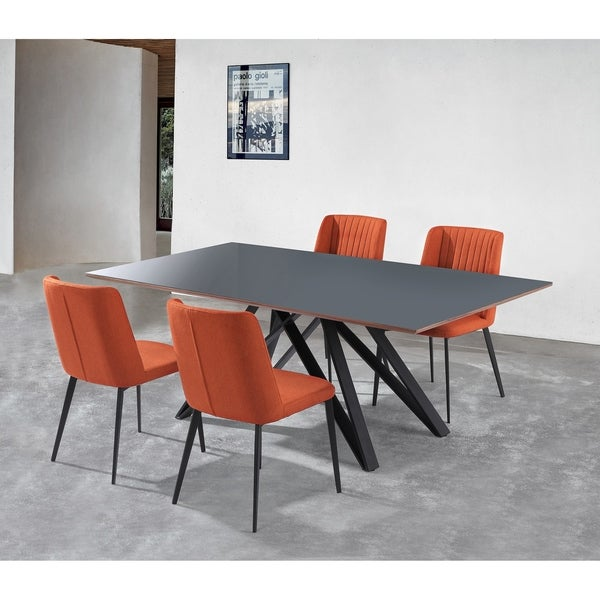 Tremendous Shop Maine Contemporary Grey Glass 5 Piece Metal Dining Set Beutiful Home Inspiration Ommitmahrainfo