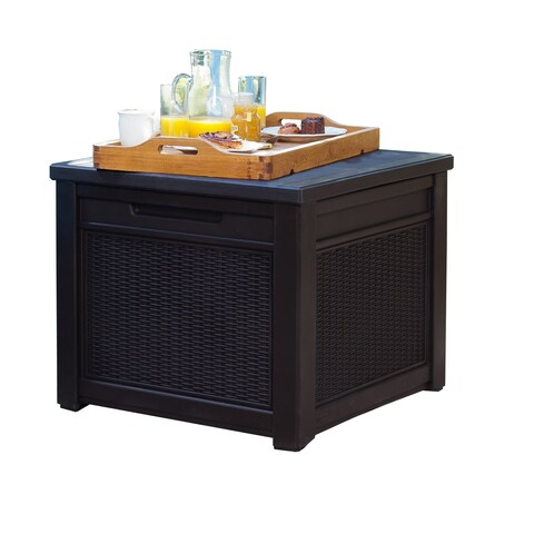 Keter Cube 55 Gallon Rattan Style Deck Box Storage Table