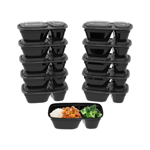 2-Compartment Portion Control Meal Prep Containers by Classic Cuisine
